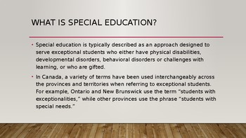 Special Education-A BC/Canadian Focus