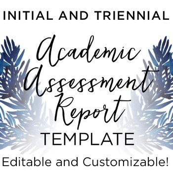 Special Education Academic Assessment Report Template