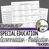 Special Education - Accommodation and Modification Tracker - EDITABLE
