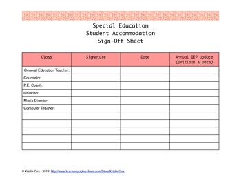 Special Education Accommodations Sign-Off Sheet