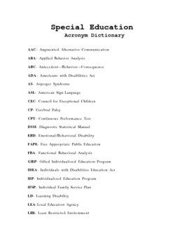 Special Education Acronym Dictionary