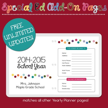 Special Education Add-On Pages for Yearly Planner Binder
