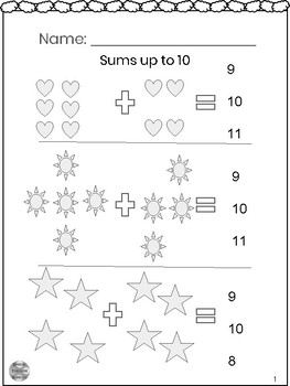 Special Education - Addition - Sums up to 10 with Visuals - Circle the Answer