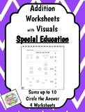 Special Education - Addition - Sums up to 10 with Visuals