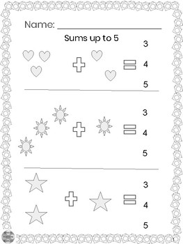 Special Education - Addition - Sums up to 5 w/Visuals - Circle the Answer