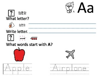 Special Education Alphabet with visual aids
