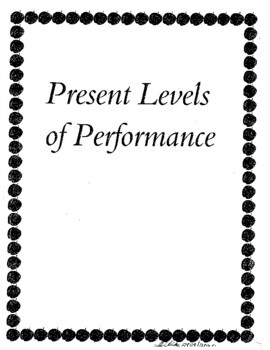 Special Education Assessment Binder Current Performance Level