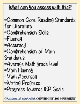 Special Education Assessments Bundle(4th-8th)Baseline Data & Progress Monitoring