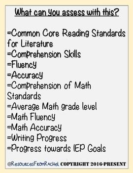 Special Education Assessments Bundle(K-8th)Baseline Data & Progress Monitoring