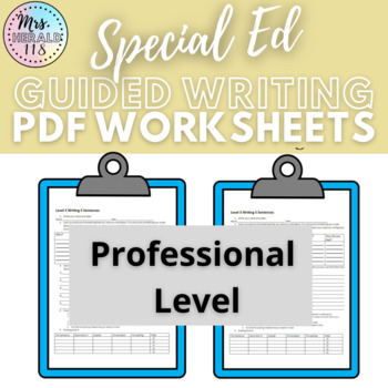Special Education Autistic Support Level 1 Writing Pack