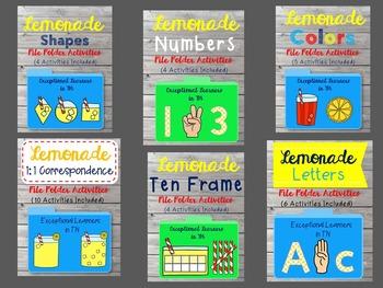 Lemonade BUNDLE Basic Skills File Folder Activities