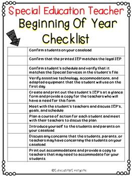 Special Education Beginning Of Year Checklist