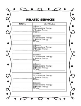 Special Education Beginning of the Year Packet