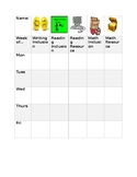 Special Education Behavior Chart with Reward