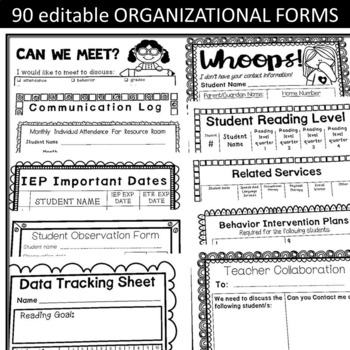 Special Education Binder IEP caseload -Apple Theme-(EDITABLE 90 Forms)