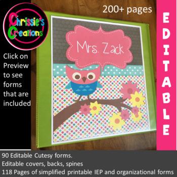 Special Education Binder IEP caseload owl (editable)