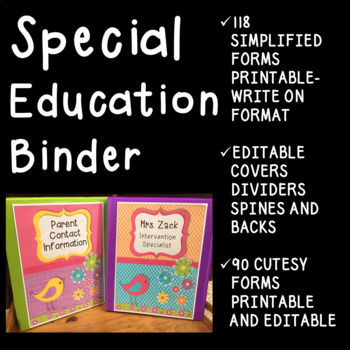 Special Education Binder- IEP forms- Editable