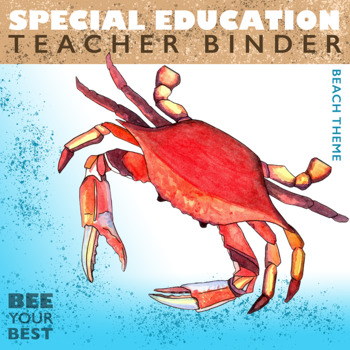 Special Education Binder in SHABBY CHIC BEACH THEME