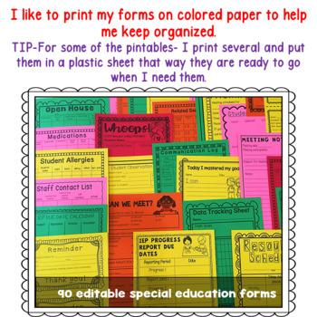 IEP Binder:Special Education Binder: IEP case managment binder with forms polkad