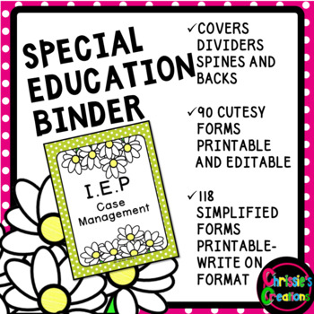 SPECIAL EDUCATION BINDER WITH ORGANIZATIONAL FORMS