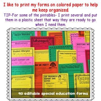 Special Education Caseload Teacher  Binder IEP data forms (Editable covers)