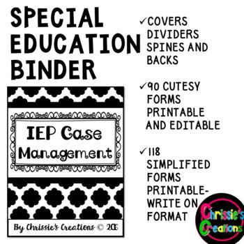 Special Education Caseload Teacher  Binder IEP data forms