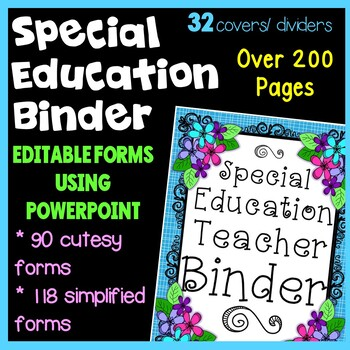 Special Education Flower Theme Binder with IEP Organizational Forms