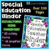 Special Education Flower Theme Binder with IEP Organizatio
