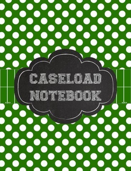Special Education Caseload Teacher Binder Green Polka Dot and Football