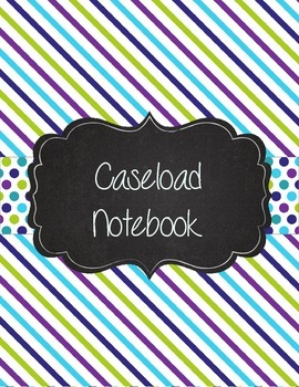 Special Education Caseload Teacher Binder Teal and Purple Stripes and Polka Dots