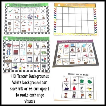 Special Education Classroom Communication Boards (AAC; Autism)