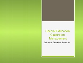Special Education Classroom Management 2 of 3