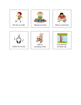 Special Education Classroom Management Visual Choices for Calming Down