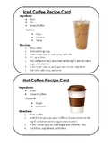 Special Education Coffee Cart Recipe Cards