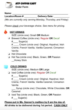 special education coffee cart sample order form tpt