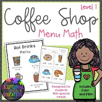 Special Education Coffee Shop Menu Math Level 1