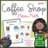 Special Education Coffee Shop Menu Math