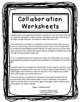 Special Education Collaboration Form - Elementary Grades