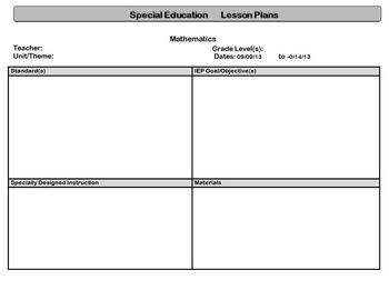 special education standardsbased lesson plan templates tpt