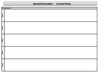 Special Education StandardsBased Lesson Plan Templates TpT - Fillable lesson plan template