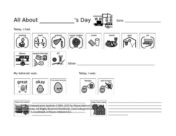 "Special Education Communication Log - ""All About My Day!"" (With Visuals)"