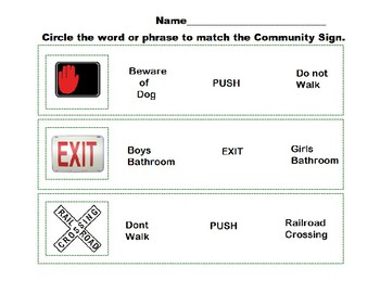 Special Education- Community Sign Match Word to Sign 1