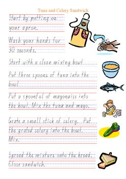 Special Education Cooking Recipe Tuna Celery Sandwich