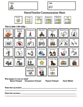 Special Education Daily Communication Sheet