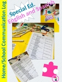 Special Education Daily Home/School Communication Log: In English and Spanish