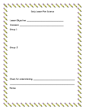 Special Education Daily Lesson Planner