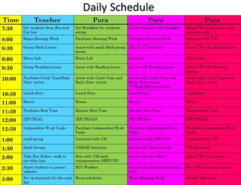Special Education Daily Schedule