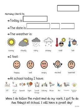 Special Education Daily Sheet