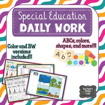 Special Education Daily Workbook