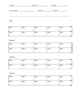Special Education Data Tracking Sheet